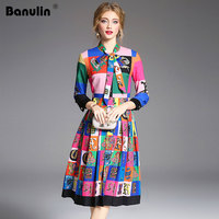 Banulin Autumn Women Pleated Dresses Runway 2018 High Quality Long Sleeve Floral Print Elegant Midi Dress Vestido Robe Femme