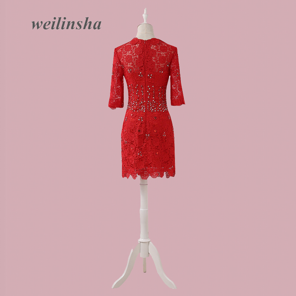 545b861e26 US $131.2 |weilinsha Scoop Half Sleeve Lace Bridesmaid Dresses Red Beaded  Short Wedding Party Gown Maid of Honor Dress-in Bridesmaid Dresses from ...