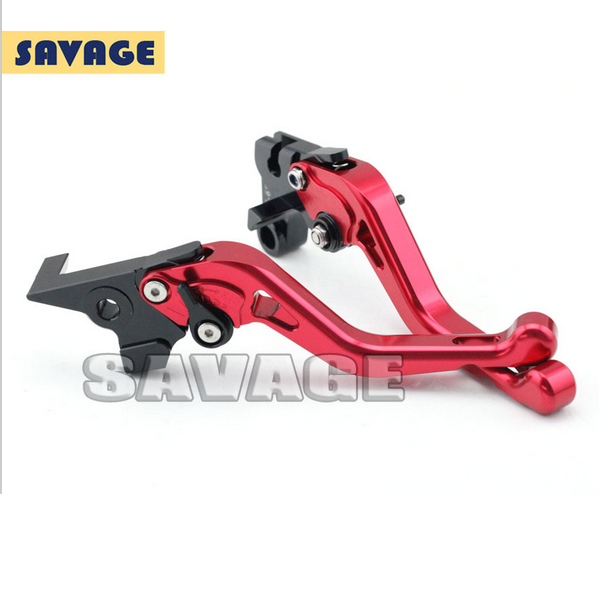 ФОТО Motorcycle Accessories CNC Aluminum Short Brake Clutch Levers For YAMAHA FZ6N/S 2004-2009, FZ-6R 2009-2015 Red