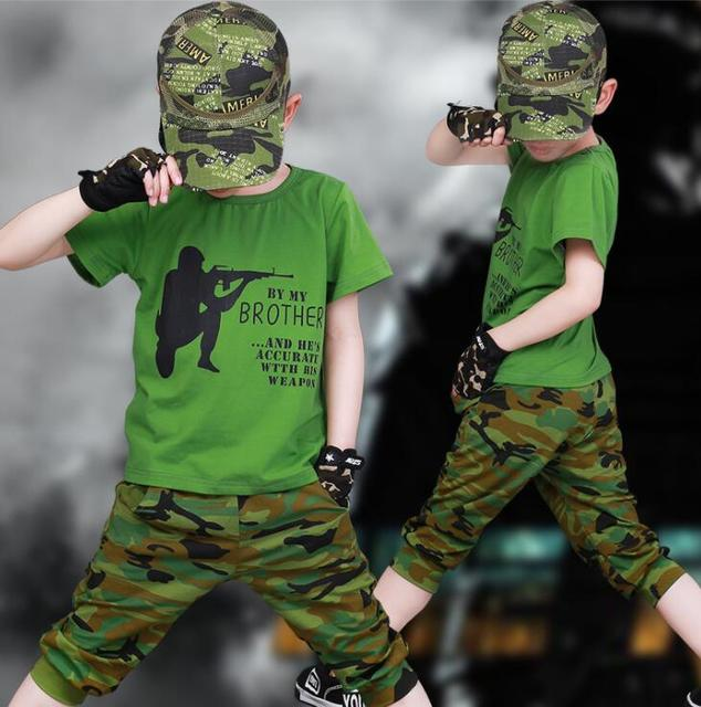 2019 Kids Clothing Set Summer Boys Camouflage Clothes 3 4 6 7 8 9 10 12 Years Short Sleeve Cotton Children Clothing Sets For Boy