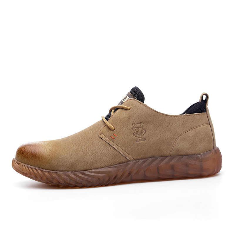 ROXDIA marka świnia skóra stal toecap mężczyźni kobiety buty ochronne plus rozmiar 37-45 wiosna jesień dorywczo lekkie obuwie robocze RXM121