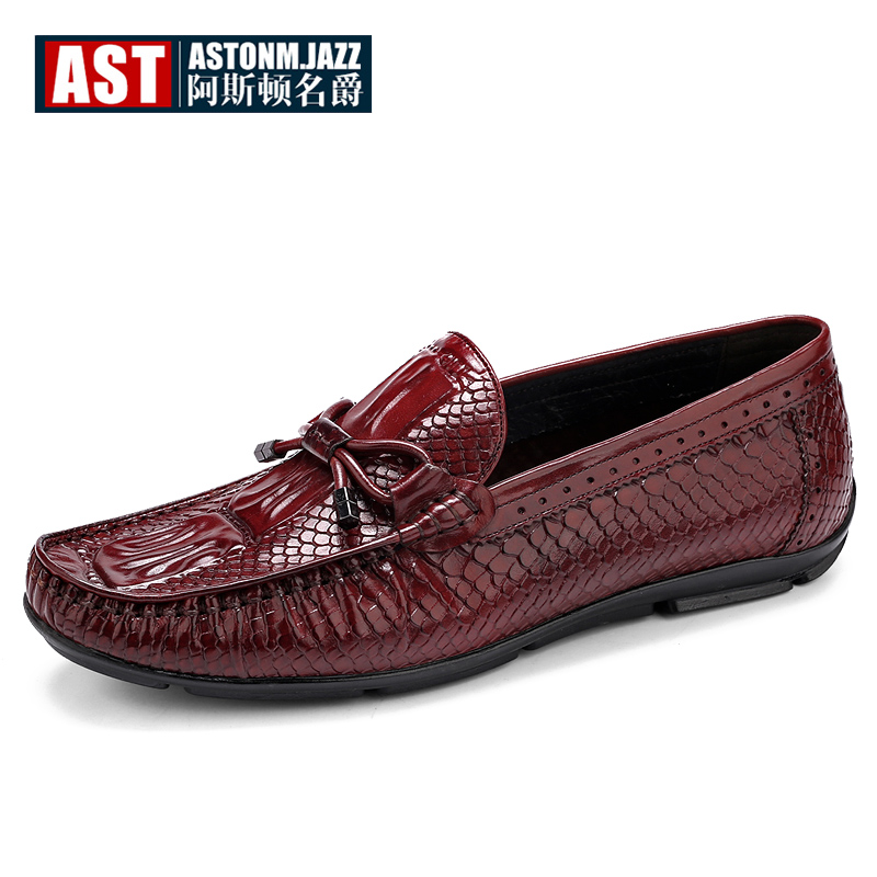 где купить Hight -end Full Grain Leather Alligator Print Mens SLIP-ON Loafers Business Man Oxfords Casual Shoes Driving Boat Shoes по лучшей цене
