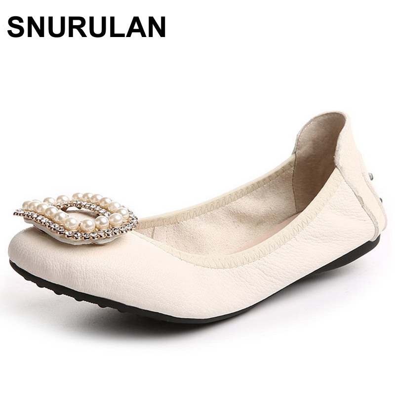 SNURULAN Plus Size Ballet Shoes Flats For Women Shoes Fold Up Real Leather Ballet Shoes Top Quality Genuine Leather Shoes princess poppy ballet shoes