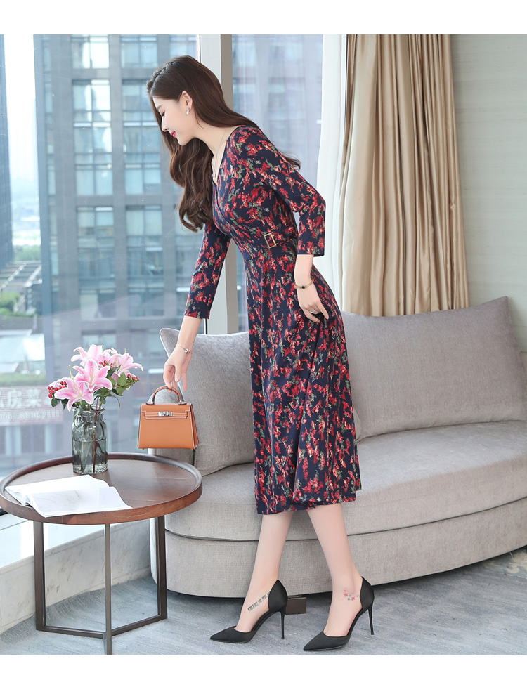 Autumn Winter New 3XL Plus Size Vintage Midi Dresses 2018 Women Elegant Bodycon Floral Dress Party Long Sleeve Runway Vestidos 31
