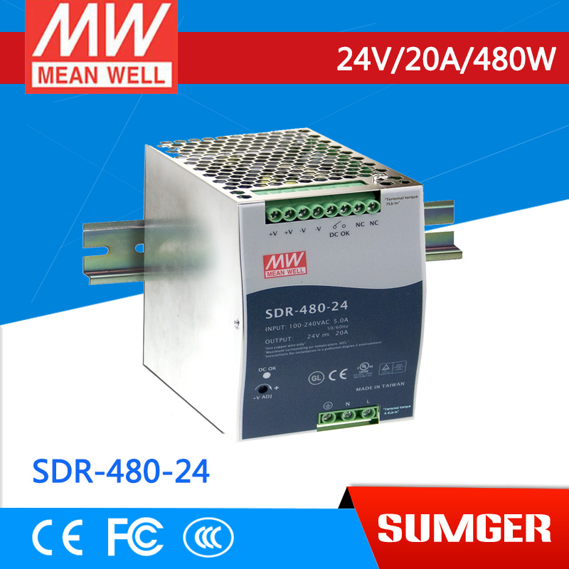 [NC-B] MEAN WELL original SDR-480-24 24V 20A meanwell SDR-480 24V 480W Single Output Industrial DIN RAIL with PFC Function цена и фото