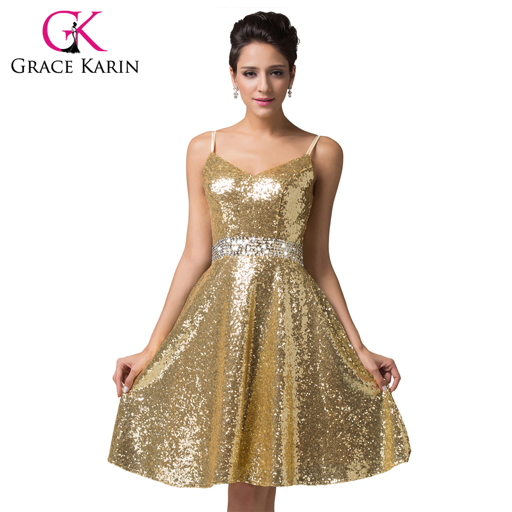 Grace Karin Cocktail Dresses 2018 Double V-Neck Sequin Formal Vestidos Blue Gold Knee Length Sexy Prom Dress Short Party Gown