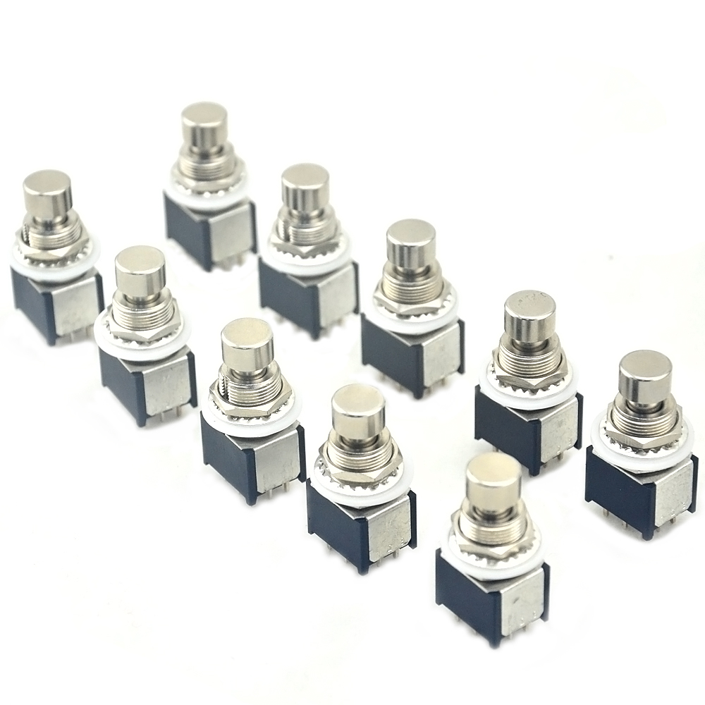 10 x mini 3pdt 9pin latching on on pcb mounted foot switch for guitar pedal kit in guitar. Black Bedroom Furniture Sets. Home Design Ideas
