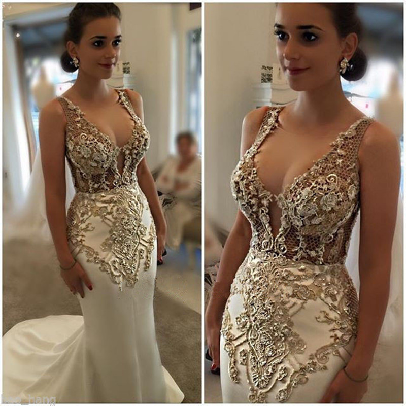 Gold Gowns Wedding: MZYK89 Sexy Mermaid Beaded Gold Lace Appliques Wedding
