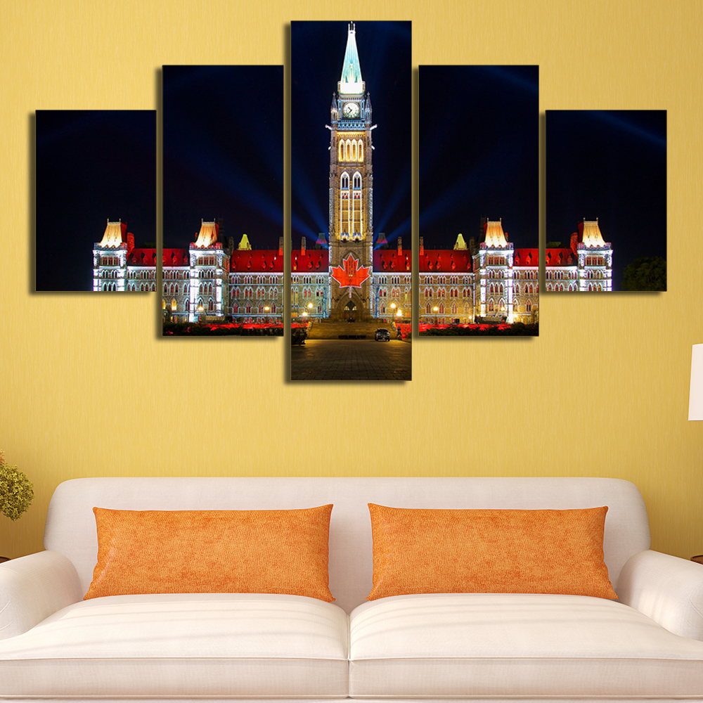Unframed 5 Panels Quebec Canada Houses Ottawa Print On Canvas Home ...