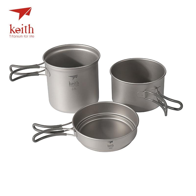 лучшая цена Keith Titanium Pot Set Pan Bowl With Folding Handle Cook Camping Hiking Picnic Cookware Utensils