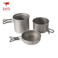 Keith Titanium Pot Set Pan Bowl With Folding Handle Cook Camping Hiking Picnic Cookware Utensils