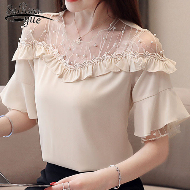 bf2a7d8474a26f Women short chiffon fashion woman blouses 2019 summer Lady chiffon Large  size Ruffle sleeve Lace women top Mesh blouse 3411 50