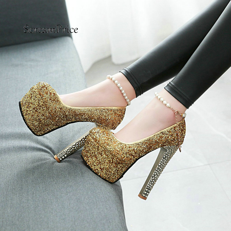 Sexy Super Thick High Heel One-button Buckle Pumps Fashion Platform Sequined Dress Party Women Shoes Red Gold B цена 2017