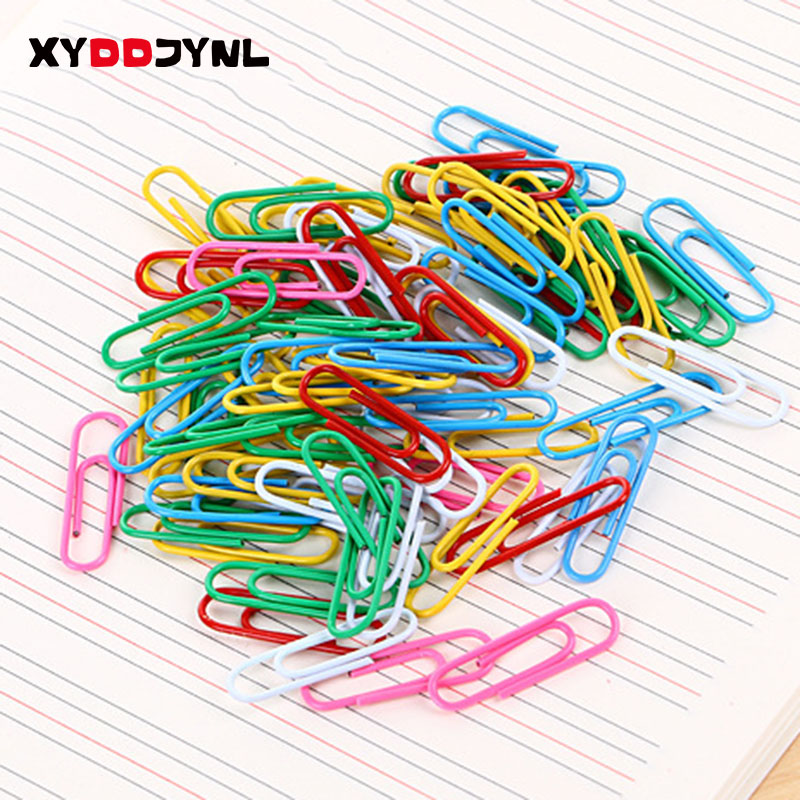 70pcs/ 28mm Rainbow Colored Paper Clip Silver Metal Clips Memo Clip Bookmarks Stationary Office Accessories School Supplies