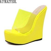 Женские Прозрачные Сандалии AIYKAZYSDL, шлепанцы на толстой платформе, на очень высоком каблуке, сланцы, оранжевые желтые