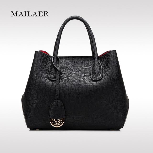 MAILAER Brand New Mulheres de Couro Camada Superior Delicado Acessórios de Moda Clássico Tote Bolsa saco cor sólida designer De Luxo