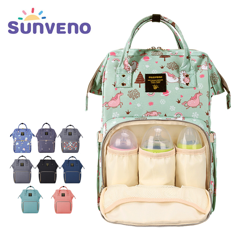 SUNVENO Mommy Diaper Bag Large Capacity Baby Nappy Bag Designer Nursing Bag Fashion Travel Backpack Baby Care Bag for Mother Kid
