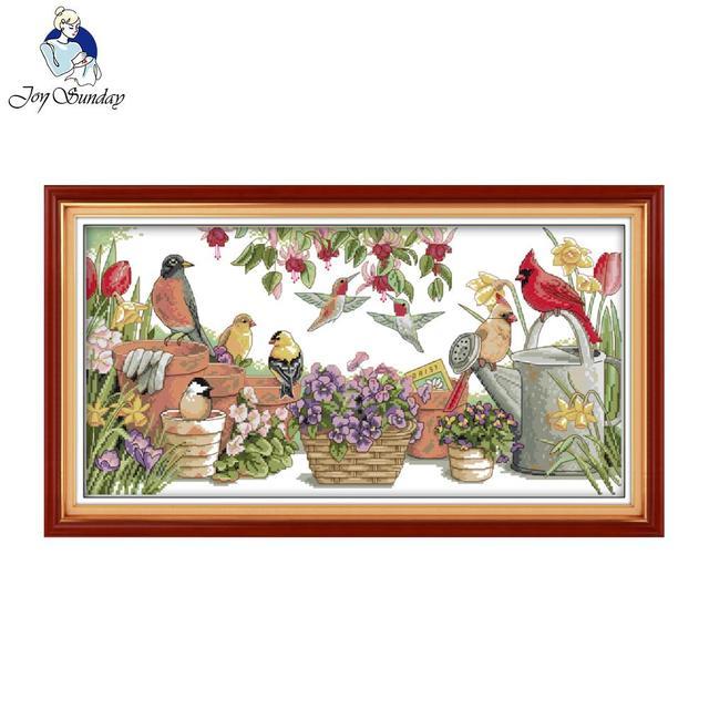 joy sunday birds gather in garden counted cross stitch 11 14ct cross stitch set wholesale cross - Garden Joy