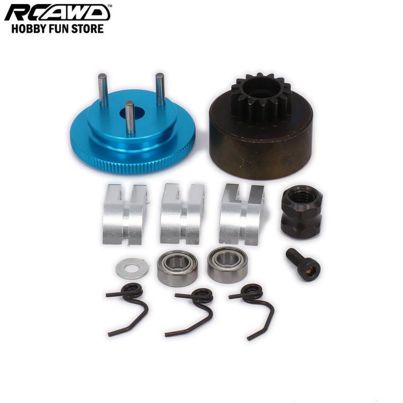 RCAWD Flywheel 14T Gear 3 Clutch Shoes Spring Cone Engine Nut Bearing Clutch Set Engine Motor Component For 1/8 RC Car Nitro HSP t motor bearing be020 for u10 u10plus 2pcs bag