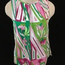 0499b79f522e44 Talbots top sleeveless Size 2 P petites button down back green pink