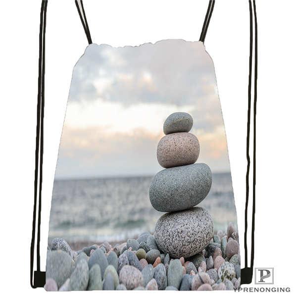 Custom Zen Stone Drawstring Backpack Bag Cute Daypack Kids Satchel (Black Back) 31x40cm#2018611-5