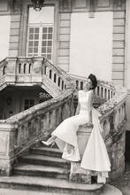 High Neck Wedding Dresses A Line Ruffles Beads Sleeveless Sweep Train 2014 Backless Bridal Gowns yk1A860