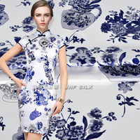 Jin Hongfu China Wind Silk Fabrics Silk Dress Fabric Satin Stretch Satin Blue And White Porcelain