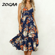ZOGAA Summer Women Boho Chiffon Beach Sundress Floral Print Strapless Spaghetti Strap Evening Party Vocation Long Dress Vestido