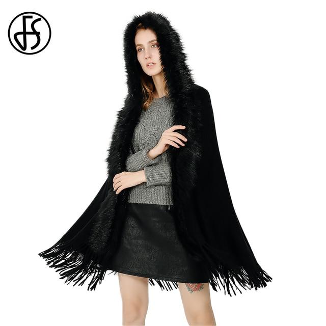 ef27a4f95f9 FS Winter Warm Fur Collar Hood Scarf Cashmere Ponchos And Capes Big Blanket  Scarves Women 2018 Lady Shawl Pashmina With Tassel