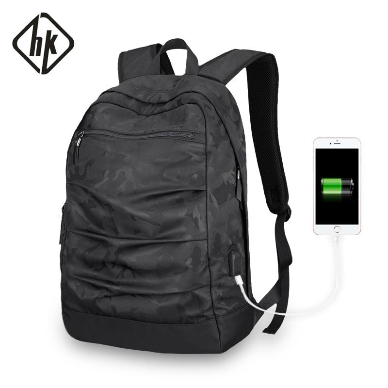 HKBackpack usb-ladekabel Männer Mochila Camouflage Schwarz große kapazität Tasche masccline 15,6 zoll Laptop taschen 17,3 inch Spiel Bookbag
