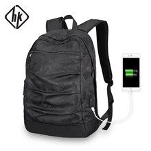 ФОТО hkbackpack usb-ladekabel men mochila camouflage black large capacity bag masccline 15.6 zoll laptop bags 17.3inch game bookbag