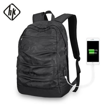 HKBackpack usb-ladekabel男性Mochilaカモフラージュブラック大容量バッグmasccline 15.6ゾールラップトップバッグ17.3インチゲームブックバッグラップトップバッグ