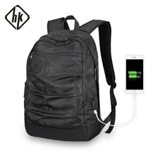 Hkbag usb ladekabel hommes Mochila Camouflage noir grande capacité sac masccline 15.6 zoll sacs pour ordinateur portable 17.3 pouces jeu Bookbag