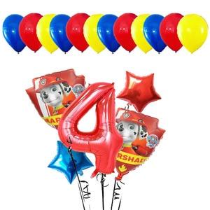 Image 5 - Lote de 17 unidades de Globos de aluminio de la patrulla canina, Globos de mano con dibujos animados de perro, Globos de cumpleaños, juguetes para niños, Globos con números de 32 pulgadas