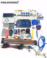 HAILANGNIAO 1set Mega 2560 R3 Starter Kit Motor Servo RFID Ultrasonic Ranging Relay LCD For