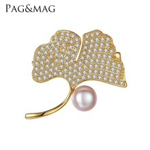 PAG&MAG Brand Ginkgo Leaf Natural Pearl Women Brooch Pink and Gray Color Choose Gift Box Free Sterling Silver 925 Brooch