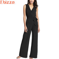 Ebizza European V Neck Sashes Wide Legged Womens Office Jumpsuits Loose Sleeveless Solid Playsuits Rompers Summer