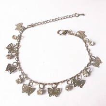 New Fashion Butterfly and Crystal Bracelet Little Bells Bracelets Silver Fine Bracelet Fine ankles Priced Direct Selling