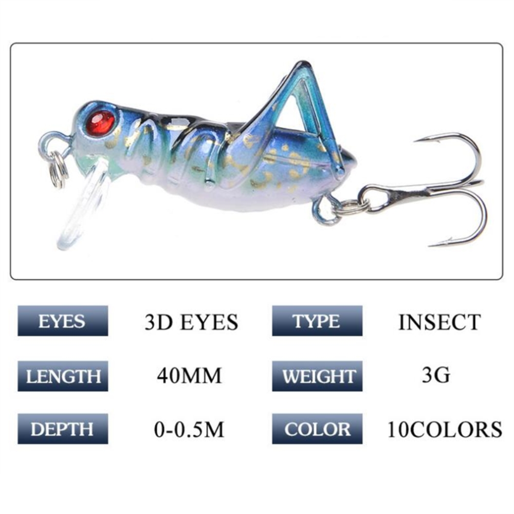 1pcs/lot 40mm 3g Grasshopper insects Fishing Lures Flying Wobbler Lure hard bait Lifelike Artificial baits Bass Swimbait Pesca