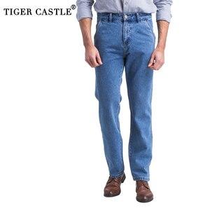 Classic Thick Mens Jeans Spring Autumn 100% Cotton Black Denim Overalls Men High Quality Regualr Fit Jeans Vintage Blue Trousers(China)