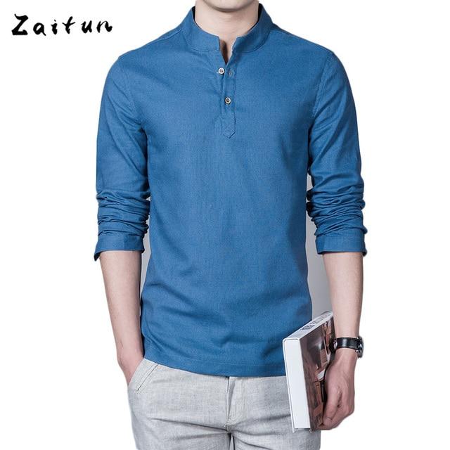 ZAITUN Long Sleeve Linen Shirt Men Solid Color Breathable Pull ...