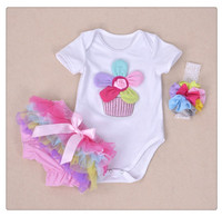 New Summer Baby Girl Clothing Cotton Rainbow Flower Short Sleeve Rompers And Ruffle Bloomers Newborn Infant