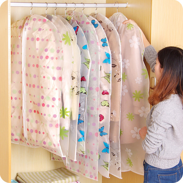 3PCS/Lot Dustproof Covers for Clothes Hanging Flat Transparent Closet Organizer Wardrobe Clothing Storage Bags
