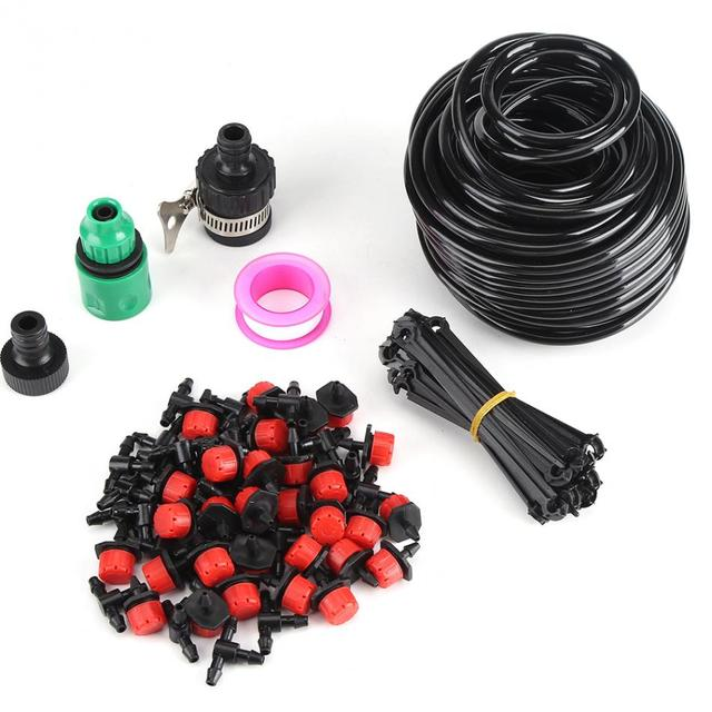 25m Micro Drip Irrigation System Plant Self Automatic Watering Timer Garden  Hose Kits With Adjustable Dripper