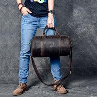 Genuine Leather Waterproof Barrel Travel Bags Tote Crossbody Men's Real Leather Messenger Bag Women shoulder retro Leather bag