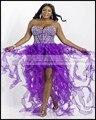 Luxury robes de cocktail dress sexy beaded lively 2016 Vestidos de Coctel purple  wedding sweetheart Bra