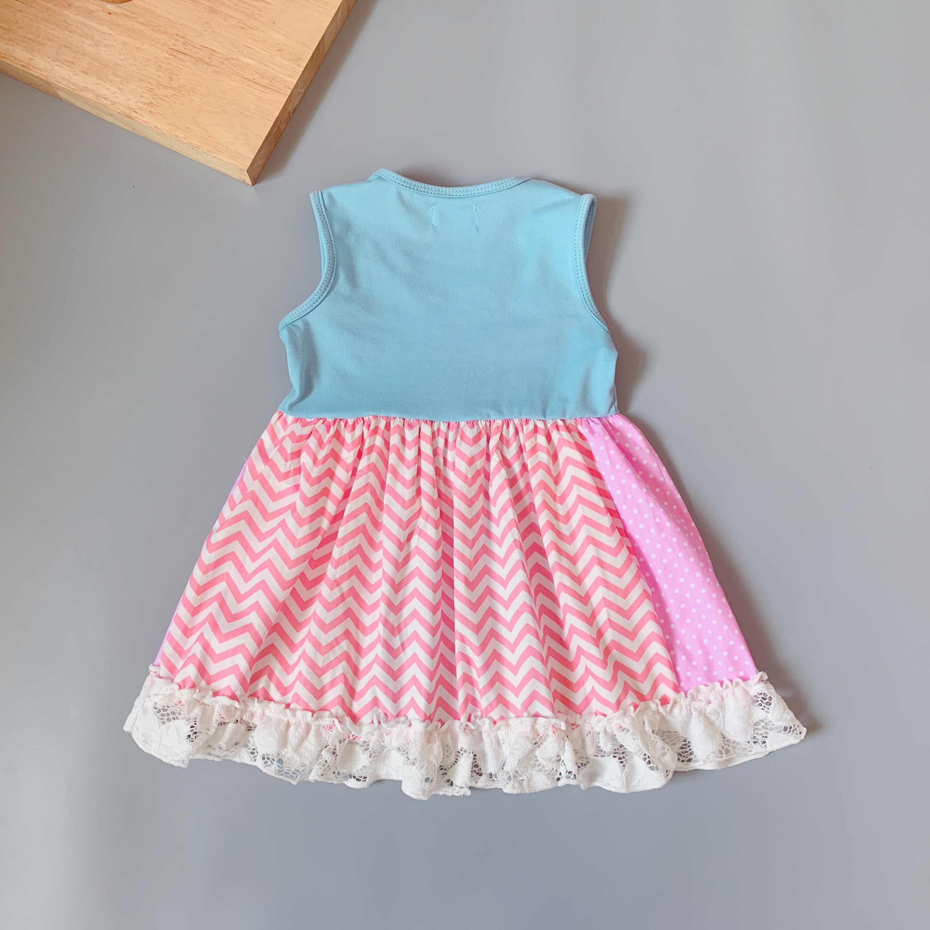 Летние топы синего цвета для маленьких девочек; милое платье с рисунком единорога и цыпленка; цветная майка; платья с желтыми оборками