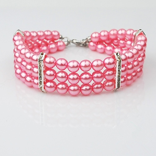 3 Layers Pink Venetian Pearl Pet Dog Jeweled Necklace Collar with Rhinestone Puppy Chihuahua Yorkie Cat Collars