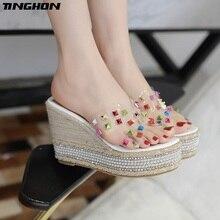 TINGHON Summer Wedge Slippers Platform High Heels Women Rhinestone Outside Shoes Color Rivets Slipper Flip Flop Sandals
