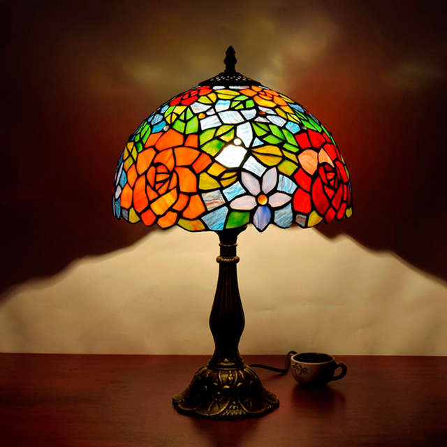 Hot sale european style retro color glass rose table lamp luxury hot sale european style retro color glass rose table lamp luxury atmosphere american tiffany table lamp aloadofball Gallery